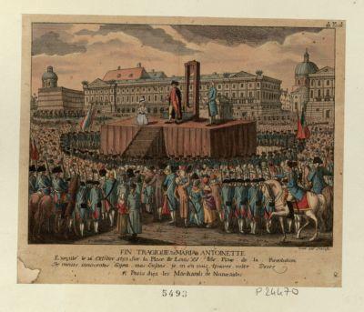 Fin tragique de Maria Antoinette executé le 16 october <em>1793</em> sur la place Louis XV dite place de la Revolution [estampe]