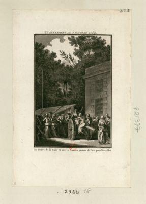 Evénement du <em>5</em> octobre <em>1789</em> les dames de la Halle et autres femmes partant de Paris pour <em>Versailles</em> : [estampe]
