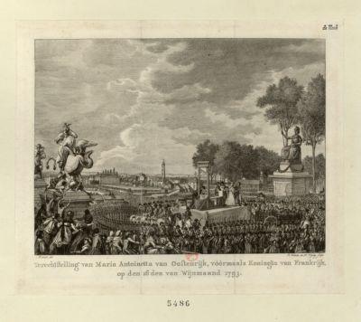 Terechtstelling van Maria Antoinetta van Oostenrijk, vöörmaals Koningin van Frankrijk [estampe]
