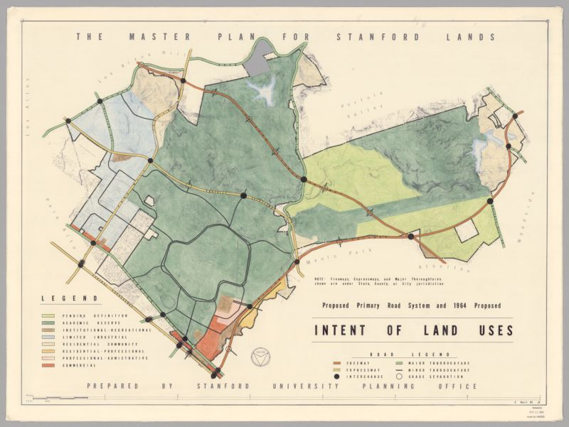 Proposed Primary Road System and 1964 Proposed Intent of Land Uses, Master Plan for Stanford Lands, 1965