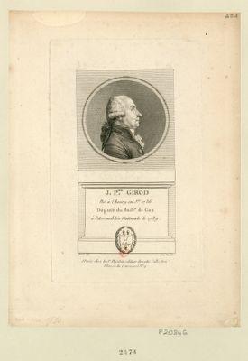 J. P.re Girod né à Chevry en j.er 1736 député du bail.ge de Gex à l'Assemblée nationale le [sic] 1789 : [estampe]