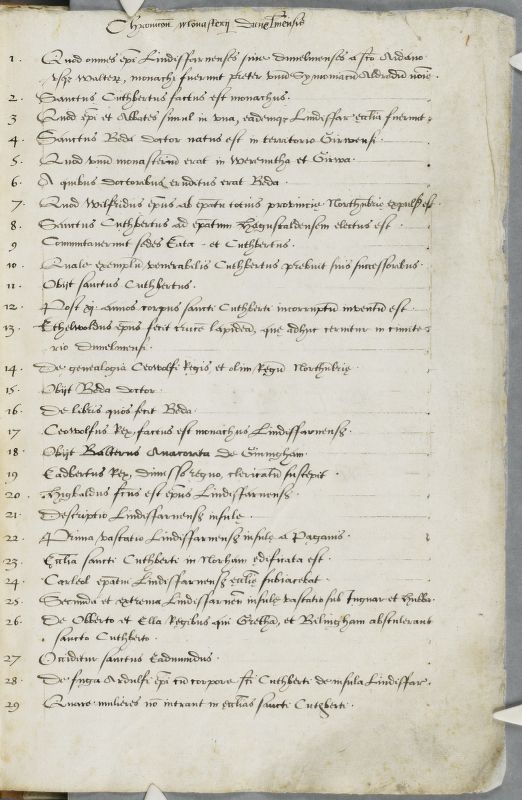 Cambridge, Corpus Christi College, MS 100: Transcripts (16th century). Simeon of Durham OSB. Geoffrey of Coldingham OSB. Tito Livio Frulovisi. Walter of Guisborough OSA. Asser