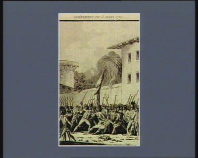 Evénement du 5 mars 1791 révolte du régiment du Port-au-Prince. Massacre de M. Mauduit colonel de ce régiment : [estampe]