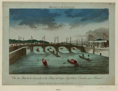 Vue du pont de la Concorde et du Palais du Corps legislative vue du pont de la Concorde : executé par Peronet : [estampe]