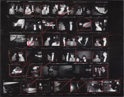 [Nick Rhodes, Roger Taylor, and John Taylor of Duran Duran with Andy Warhol; Halston]