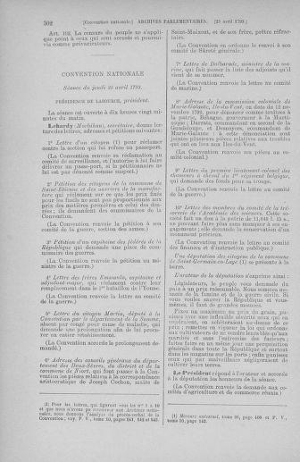 Tome 63 : Du 20 avril au 1er mai 1793 - page 302