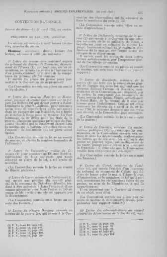Tome 63 : Du 20 avril au 1er mai 1793 - page 495