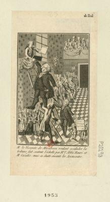 M. le vicomte de Mirabeau voulant escalader la tribune fait soutenir l'échelle par Mr l'abbé Mauri et M. Cazalès mais sa chute anéanti les aristocrates : [estampe]