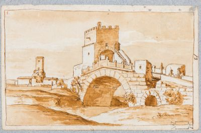 Ponte Salario, veduta generale con la torre che sovrasta il ponte