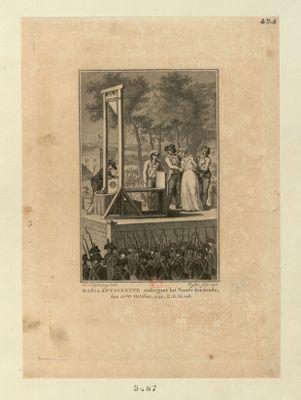 Maria Antoinette ondergaat het Vonnis des doods, den 16.den October, <em>1793</em> [estampe]