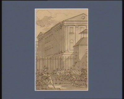 [Soldats déposant leurs armes au milieu d'une foule massée en face du palais de Versailles] [dessin]
