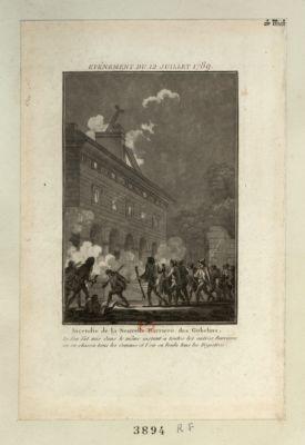 Evénement du 12 juillet 1789 incendie de la nouvelle barrière des Gobelins. Le feu fut mis dans le même instant à toutes les autres barrières : on en chassa tous & les commis et l'on en brula tous les registres : [estampe]