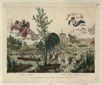 L' Age d'or, l'age de fer sujets tirés d'une fable de La Fontaine, ayant pour titre les Grenouilles qui demandent un roi : [estampe]