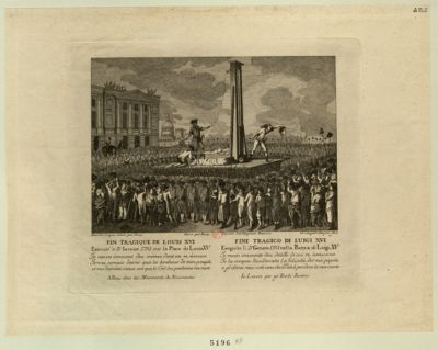 Fin tragique de Louis XVI Executé le <em>21</em> Ianvier <em>1793</em>... : [estampe]