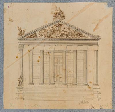 Neptunium, facciata che volgeva sulla via Flaminia, ricostruzione immaginaria
