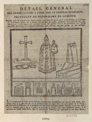 Détail général des objets envoyés a Paris, par le général Bonaparte, provenant de Notre-dame de Lorette [estampe]