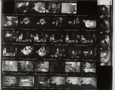 [Keith Haring and Nick Rhodes of Duran Duran at lunch at 860 Broadway; Keith Haring and Jean-Michel Basquiat with paintings; Jay Shriver; Benjamin Liu]
