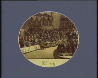 N.o 99 11 decembre. Comparution de <em>Louis</em> <em>XVI</em> à la barre de la Convention N.le... : [estampe]