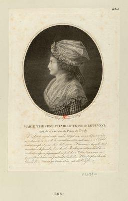 <em>Marie</em> Therese Charlotte fille de <em>Louis</em> <em>XVI</em> agée de 17 ans, dans la prison du Temple... : [estampe]