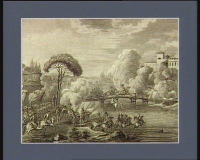 Passage du pont de Lody par l'armée française sous le commandement du général Bonaparte commandant en chef de l'armée française en Italie, le vingt-un floréal an 4 contre Beaulieu général en chef de l'armée impériale,... : [estampe]