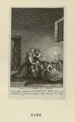 Dernière entrevue de Louis XVI avec sa famille, 20 janvier <em>1793</em>, à sept heures du soir [estampe]