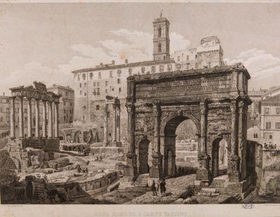 Foro Romano, veduta parziale dell'arco di Settimio Severo