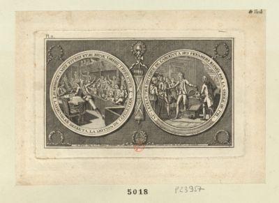 Je renonce <em>a</em> mes titres et je signe Michel Lepeletier M.el Lepeletier distribue de l'argent <em>a</em> ses fermiers ruinés par la greile de 1788 : [estampe]