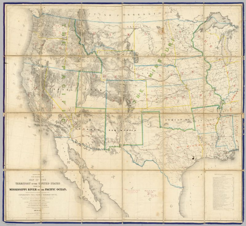 Engineer Bureau, War Department. Map Of The Territory Of The United States From The Mississippi River To The Pacific Ocean; Originally prepared to accompany the Reports of the Explorations For A Pacific Railroad Route ... Compiled from authorized explorations and other reliable data by Lieut. G.K. Warren, Top'l. Eng'rs. In the Office of Pacific R.R. Surveys, War Dept. under the direction of Bvt. Maj. W.H. Emory, Top'l. Eng'rs. in 1854. Capt. A.A. Humphreys, Top'l. Eng'rs. in 1854-58. And partly recompiled and redrawn under the direction of the Engineer Bureau in 1865-66-67. Engraved on stone by Julius Bien, New York