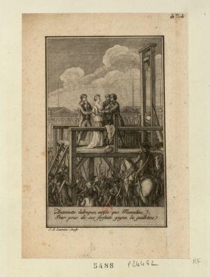 Antoinette lubrique, ainsi que Messaline, pour prix de ses forfaits gagna la guillotine [estampe]