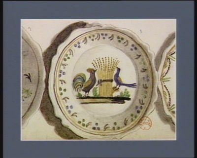 [Assiette décorée d'un coq et d'un oiseau, <em>allégories</em> de la Vigilance et de la Liberté] [dessin]