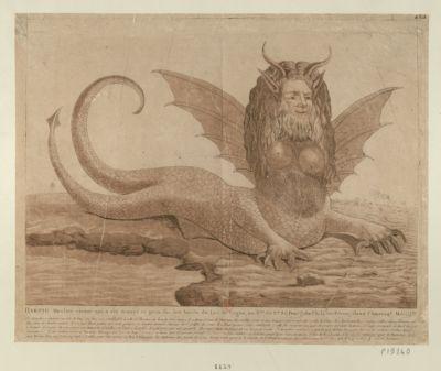 Harpie Monstre vivant qui <em>a</em> été trouvé et pris sur les bords du Lac de Fagua [estampe]