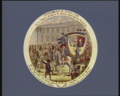 Journee du 18 avril 1791 ou le départ du Roi <em>à</em> St Cloud, refusé par les parisiens [estampe]