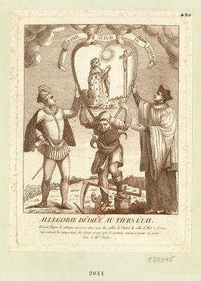 Allegorie dédiée au tiers état gravée d'apres le tableau conservé dans une des salles de l'hotel de ville d'Aix en Provence representant la composition des états, et qui par le costume annonce avoir été peint dans le 16me siecle : [estampe]