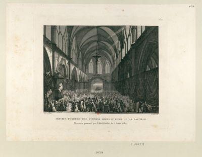 Service funèbre des citoyens morts au siège de la Bastille discours prononcé par l'abbé Fauchet le 5 aoust 1789 : [estampe]
