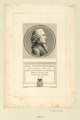 Paul Joseph Nicodême né à Cambrai le 17 mars 1733, ancien consul et echevin de Valenciennes, député de la ditte ville à l'Assemblée nationale de 1789. Auteur de l'Exercice des commerçans : [estampe]