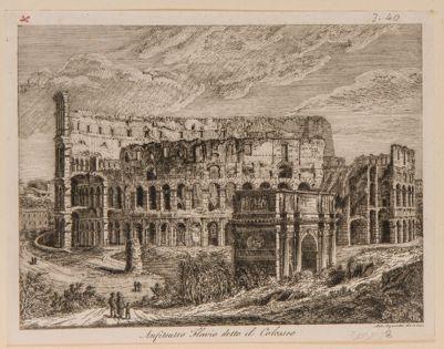 Colosseo, esterno. Veduta d'insieme dall'arco