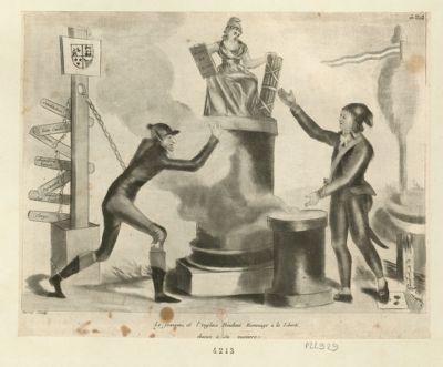Le  Français et l'Anglais rendant hommage à la liberté chacun à sa maniere [estampe]