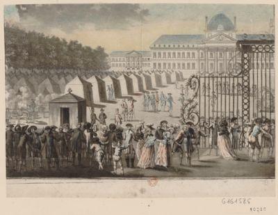 Vue du Champ de Mars le 12 juillet 1789 camp des Regiments de Diesbach Chateauvieux Salis Samath Suisses Berchini et Chamborand Hussard. Les citoyens de Paris allant voir ce camp : [estampe]