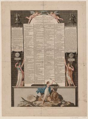 Acte constitutionnel des Français accepté par le peuple réuni à Paris au champ de Mars le 10 août 1793 [estampe]