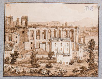 Palatino, veduta dei resti della Domus Severiana sulla odierna Via dei Cerchi