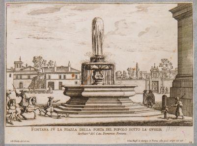 Piazza del Popolo, fontana già ai piedi obelisco