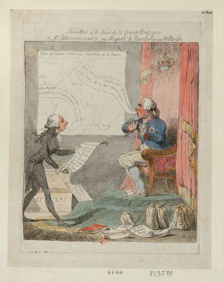 Nouvelles a la cour de la Grande Bretagne ou Mr. Pitt annonçant a sa majesté le [sic] Révolution en Hollande [estampe]