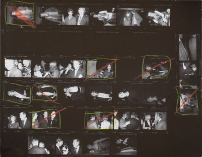[Party backstage at a theater (?), Christopher Makos and Peter Wise, Diana Vreeland, Whitney Tower, Tatum O'Neal, Catherine Guinness, John Richardson, Diane von Furstenberg, Barry Diller]