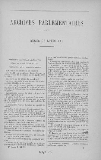 Tome 47 : Du 21 juillet au 10 août 1792 - page ..