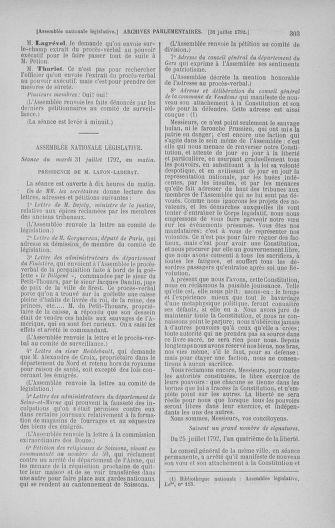 Tome 47 : Du 21 juillet au 10 août 1792 - page 303