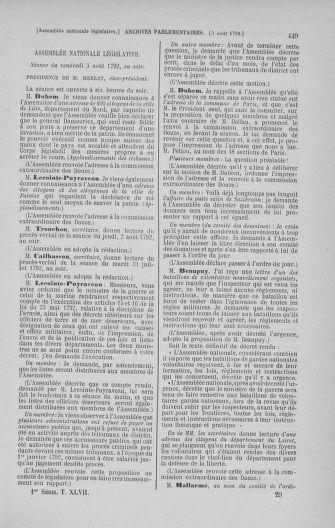 Tome 47 : Du 21 juillet au 10 août 1792 - page 449
