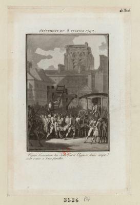 Evénement du 8 février <em>1790</em> après l'execution des deux freres Agasse, leurs corps sont remis a leurs familles : [estampe]