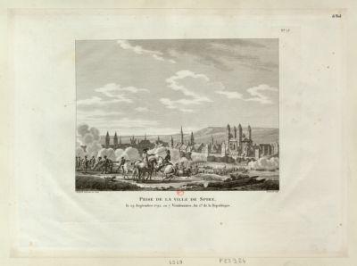 Prise de la ville de Spire le 29 septembre <em>1792</em>, ou 7 vendemiaire an I. er de la République : [estampe]