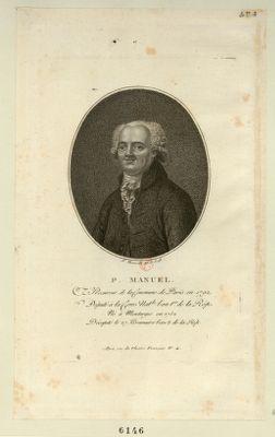 P. Manuel, procureur de la Commune de Paris en 1792 député à la Conv. nat.le l'an 1.er de la Rép. né à Montargis en 1752 décapité le 27 brumaire l'an 2 de la Rép. : [estampe]