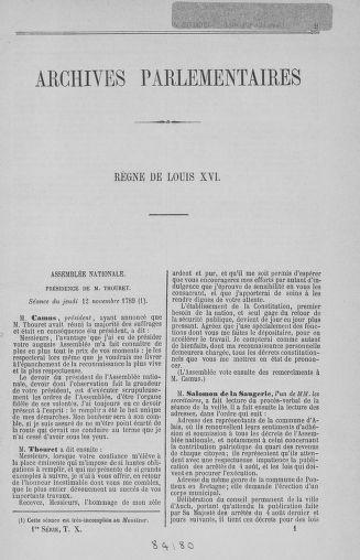 Tome 10 : Du 12 novembre au 24 décembre 1789 - page 1